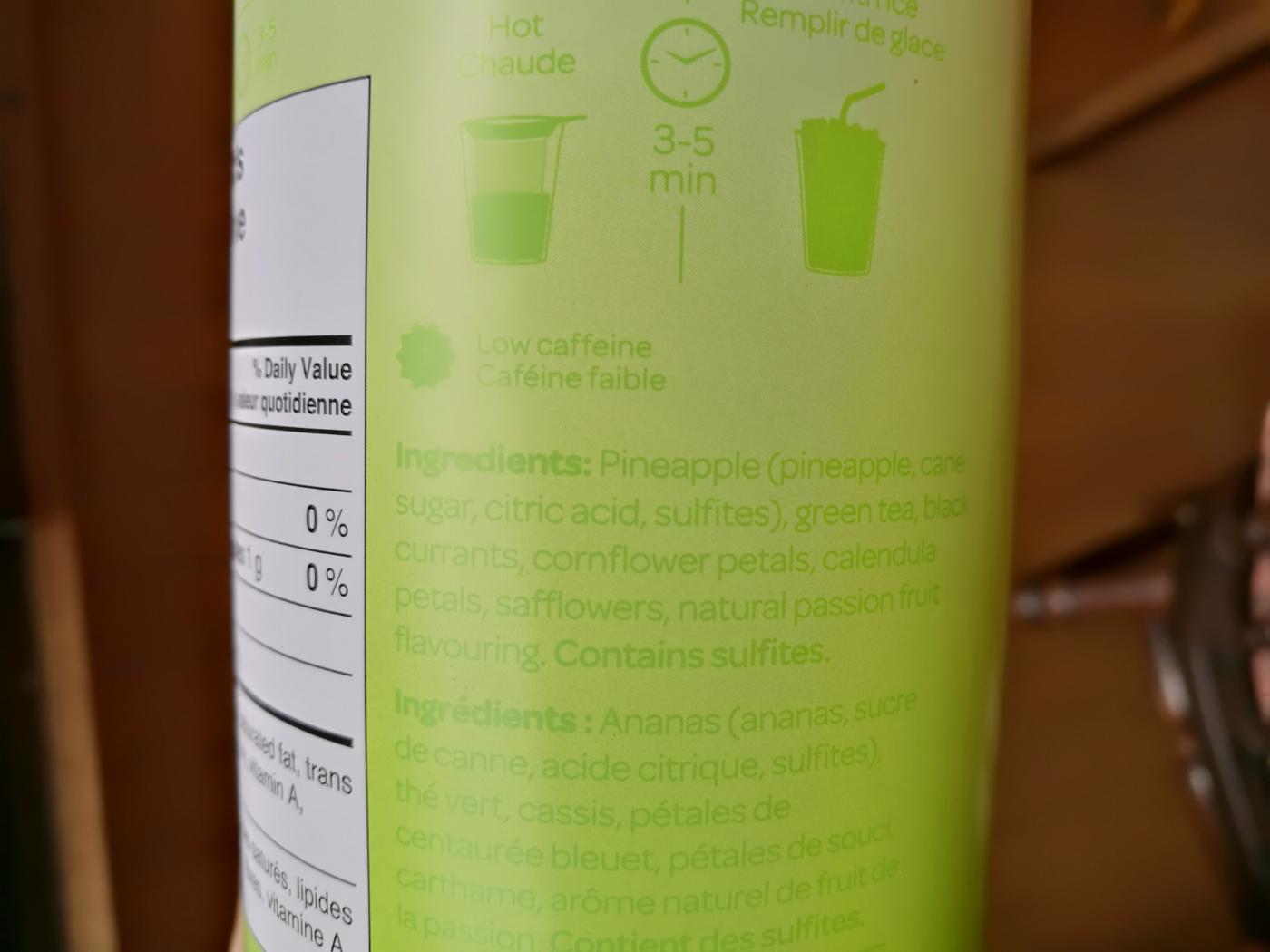 DAYVIDsTEA green passionfruit ingredients