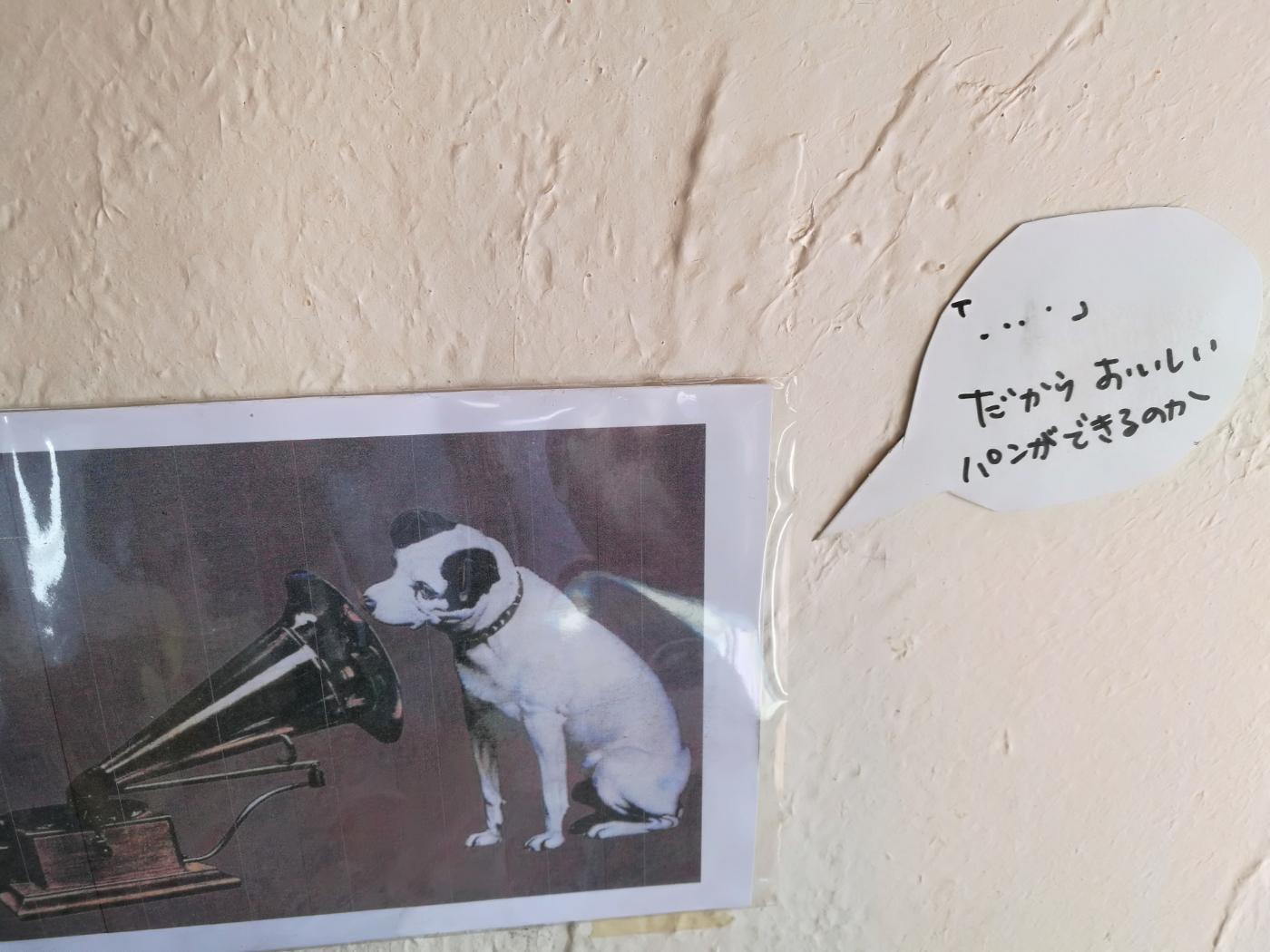 元気パン工房ごぱんの壁面犬の写真