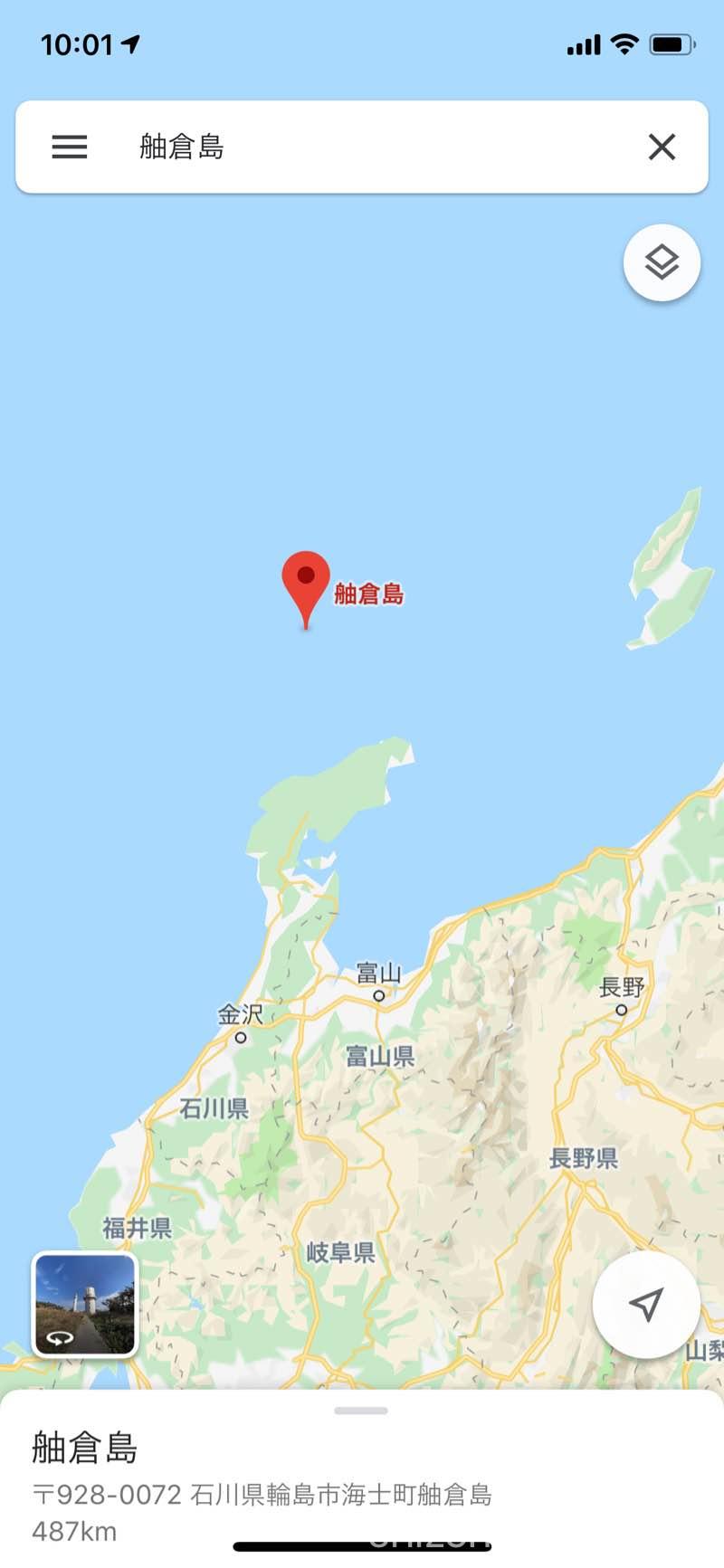石川県輪島市舳倉島の地図 グーグル・マップ