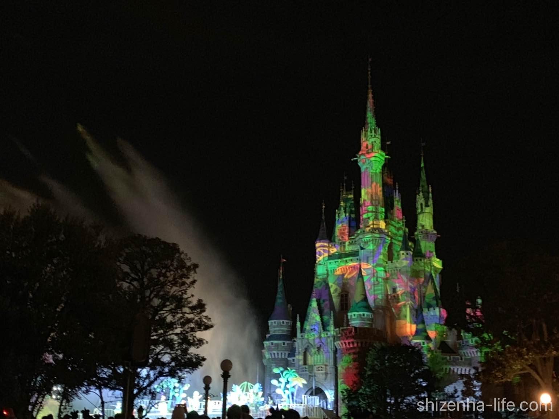 東京ディズニーランド 夜のドナルドのショーシンデレラ城のライトアップ