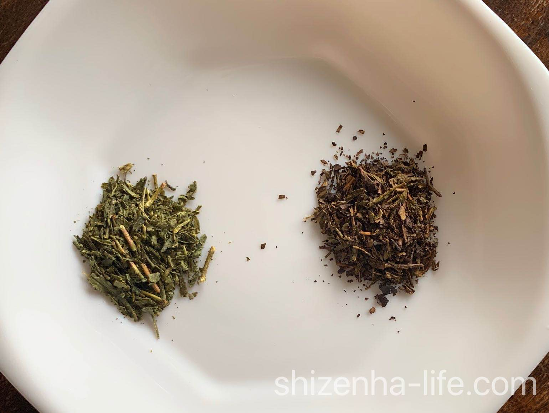 番茶と番茶をほうじたほうじ茶を比較