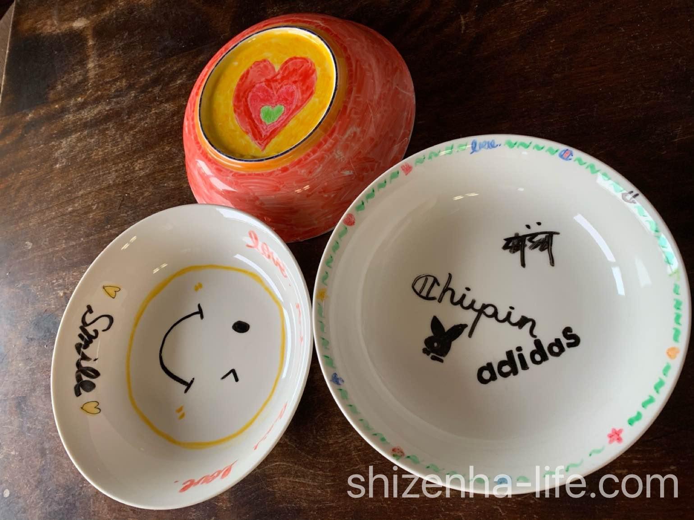 無印良品 おえかきペン・陶磁器用で絵付けしたお皿